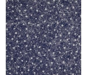 Baumwolle - Comet Sterne dunkelblau silber