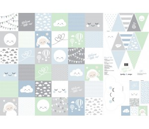 Baumwolle - Patchwork Panel Welcome Little One blau