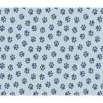 Baumwolle - Pfoten hellblau