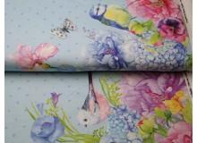 Jersey - Borderprint Frühlings Vögel hellblau
