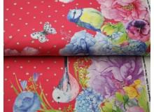 Jersey - Borderprint Frühlings Vögel pink-rot
