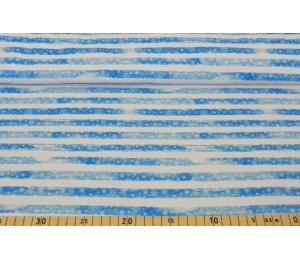 French Terry - Flocki hellblau weiß Schneeflocken gestreift