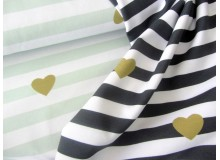 Jersey Lovely Stripes Herzen anthrazit oder mint