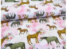 French Terry - Pferde und Blumen rosa
