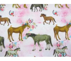 Jersey - Pferde und Blumen rosa