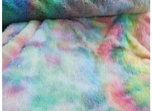 Fellstoff - Plüsch bunt multicolor Regenbogen