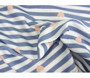 Paul & Clara Mini Stripes - Herzen blau rosa