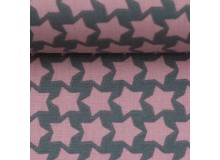 Textil Wachstuch - beschichtete Baumwolle Farbenmix Staaars grau rosa