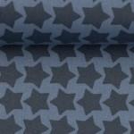 Textil Wachstuch - beschichtete Baumwolle Farbenmix Staaars rauchblau blau
